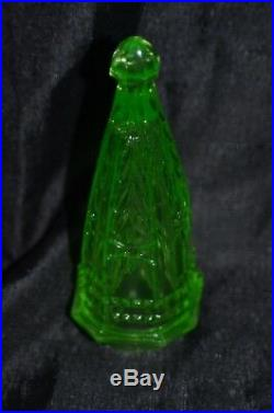 Vintage Vaseline Glass Green Car Vase Christmas Tree Topper Top Uranium Carnival