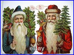 Vintage Victorian Antique Christmas Die-Cut with Two Santa's, Holly & Tree