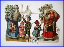 Vintage Victorian Antique Christmas Die-Cut with Two Santa's, Trees & Toys