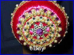 Vintage Victorian CHRISTMAS Tree Ornament Pink Zimonick SWAROVSKI 7