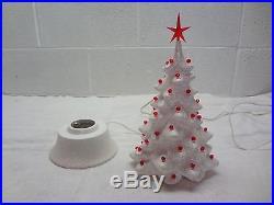 Vintage WHITE GLITTER CHRISTMAS TREE w RED 1956 MALLORY CERAMIC STUDIO JAMAR