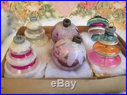 Vintage WW 11 Unsilvered Shiny Brite Antique Glass Xmas Tree Ornaments with Mica