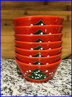 Vintage Waechtersbach Christmas Tree Berry Fruit Dessert Bowls Set West Germany