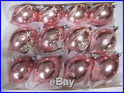 Vintage West Germany 12 Pink Mica Teardrop Indent Glass Christmas Tree Ornaments
