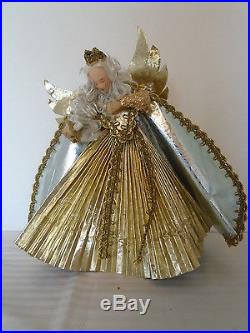 Vintage West Germany Wax Gold Angel Christmas Tree Topper