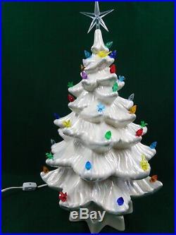 Vintage White 15 Ceramic Lighted Christmas Tree BEAUTIFUL WORKS