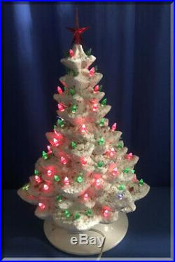 Vintage White Ceramic Christmas Tree 17 Inch Green & Red Bulbs & Doves No Music