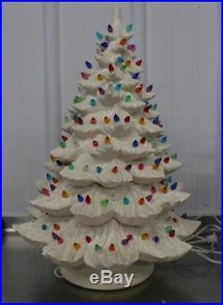 Vintage White Ceramic Christmas Tree 24 tall 16 Wide 2 piece Lighted RARE