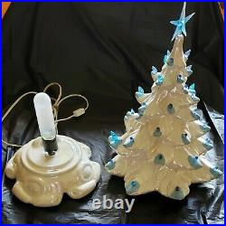 Vintage White Ceramic Christmas Tree Atomic Mold Iridescent Paint Blue Lights 19