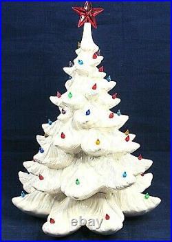 Vintage White Ceramic Lighted Christmas Tree Lights 1984 Iridescent 17 No Base