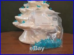 Vintage White Lighted Ceramic Christmas Tree 16.5 blue birds clear star