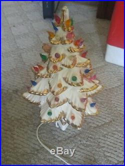 Vintage White and Gold Ceramic Christmas Tree + Music Box 13.5 Tall Signed SF