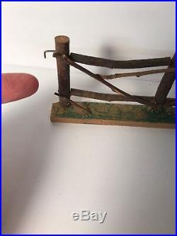 Vintage Wood Feather Tree Twig Fence German withBridge Primitive Folk Art 6 Pieces