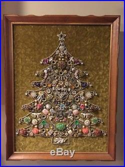 Jewelry Christmas Trees.Vintage Wood Framed Rhinestone Jewelry Christmas Tree