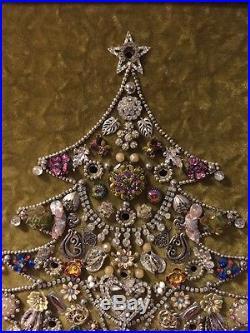 Vintage Wood Framed Rhinestone Jewelry Christmas Tree