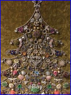 Vintage Wood Framed RHINESTONE Jewelry Christmas Tree Picture 26 1960's Made
