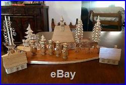 Vintage Wooden German Erzgebirge Christmas Village Carolers Trees Deer Candle