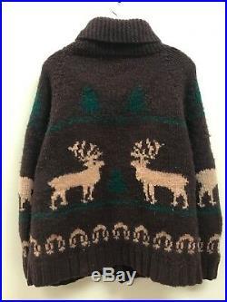 Vintage Wool Knit Curling Sweater Reindeer Moose Christmas Tree Brown Green