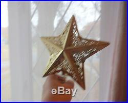 Vintage Xmas Tree Topper Gold Filigree Pierced Metal Large Star Nice RARE