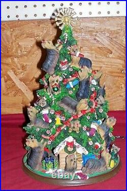 Vintage Yorkie The Danbury Mint Lighted Christmas Tree Old Yorkshire Terrier Dog
