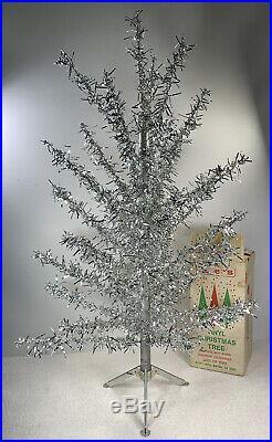 Vintage Zeller's Silver Table Top Christmas Tree Original Box 26.5 Tall Read De