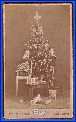 Vintage cdv photo childs & early Xmas tree model scale toy jouet Leitmeritz 1880