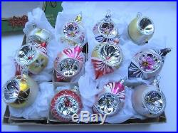 Vintage concave glass Christmas tree baubles decorations in Miro Star box