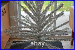 Vintage nice Complete 1960s Silver VINYL CHRISTMAS TREE 5½ ft 45 WIDE CANADA