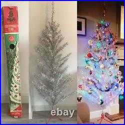 Vintage silver and white Tinsel Christmas tree 6ft Decorations not included
