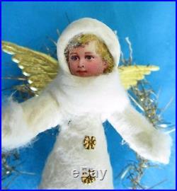Vintage spun cotton Christmas tree ornament Angel /Tinsel /Scrap-Chromo