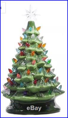 Vintage style Ceramic Green Christmas Tree 14.5 Tabletop Multi Color Lights