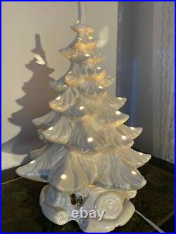 Vintage white iridescent Christmas tree ceramic music box 17 inches tall