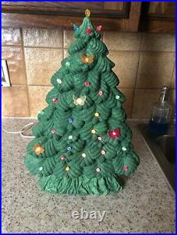 Vintage18 Ceramic Lighted Christmas Tree Thin & Tall Tree Peg Light Butterflies