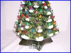 Vntg Ceramic Christmas Tree 21 Green wWhite Snow with100+ Multi-Colored Lights Up