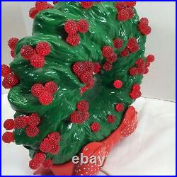 Vtg 11 Ceramic Lighted Christmas Tree Wreath & Red Holly Berry Red Ribbon base