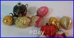 Vtg 14 Various Xmas Christmas Tree Ornaments TEAPOT Lantern Strawberry