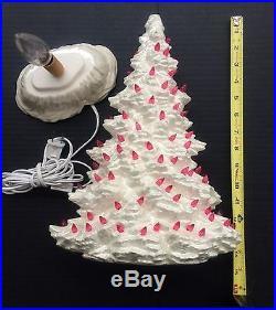Vtg 16-1/4H w Base x 4-1/2D 2pc Ceramic Mantle Christmas Tree White Pink MINT