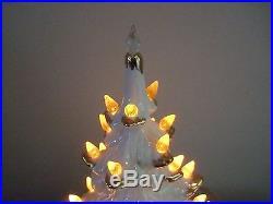 Vtg 16 Ceramic Lighted White Christmas Tree Atlantic Mold Gold Flocked Tipped