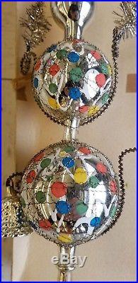 Vtg 1930 German CHRISTMAS TREE TOPPER SILVER Mercury Glass Bells Leonic Wire