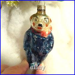 Vtg 1930's Corning Bear RARE Glass Xmas Feather Tree Ornament Figural Embossed