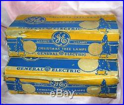 Vtg 1940 Wwii Ge 13 Round Patriotic Red Blue Xmas Tree Lights C7 Bulbs 2 Boxes