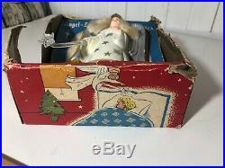 Vtg 1950 Hard Plastic Noma Christmas Tree Topper Light Angel In Original Box