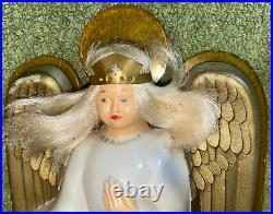 Vtg 1950s NOMA Christmas Angel Illuminated Tree Top Topper Light Halo