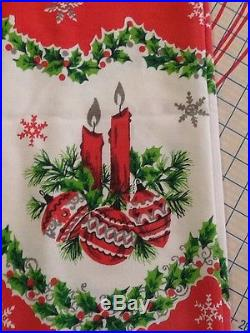 Vtg 1950s Retro CHRISTMAS Table Cloth 50x64 SANTA Ornaments Tree Candy Canes
