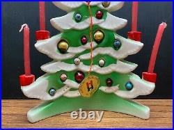 Vtg 1958 Holt Howard Porcelain Christmas Tree Candle Holder Mercury Bulbs Japan