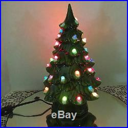Vtg 1967 Ceramic 11.5 Christmas Tree Faceted Bulbs New Switch-In-Line Wiring