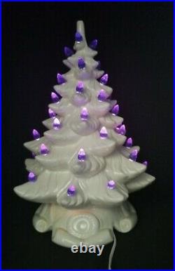 Vtg 1973 White Atlantic Mold Scroll Base Ceramic Christmas Tree Blue Lights 17