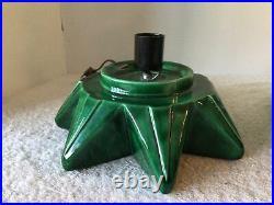 Vtg 1975 Atlantic Mold 26.5 Green Glazed Slim 2 Pc Ceramic Tree Star Base Bulbs