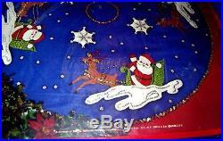 Vtg 1976 Unopened Paragon Xmas Needle Craft Kit Santa N Reindeer Tree Skirt