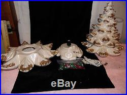 Vtg 24 Ceramic Christmas Tree 3-pc. Plays Silent Night White withGold Tips
